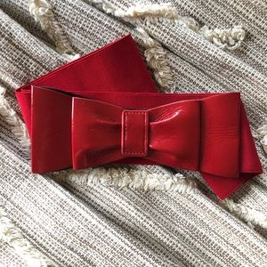 Red Patent Leather & Elastic Bow Belt!
